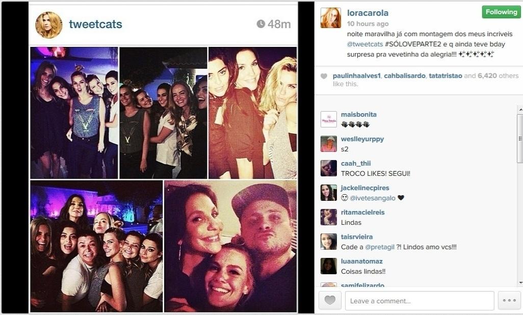 22.mai.2014 - A atriz Carolina Dieckmann mostrou no Instagram uma foto da festa surpresa feita pelos amigos de Ivete Sangalo, que faz 42 anos no próximo dia