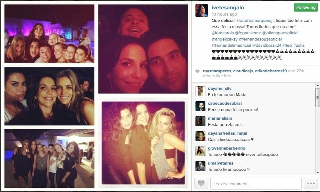 22.mai.2014 - A cantora Ivete Sangalo mostrou no Instagram uma foto da festa surpresa que ganhou dos amigos. No próximo dia 27, ela faz 42 anos