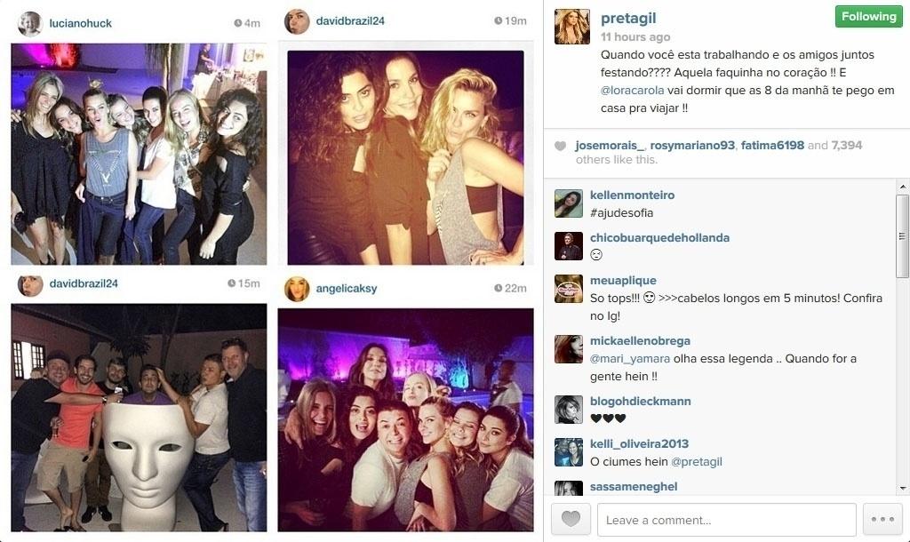 22.mai.2014 - A cantora Preta Gil mostrou no Instagram uma foto da festa surpresa feita pelos amigos de Ivete Sangalo, que faz 42 anos no próximo dia 27