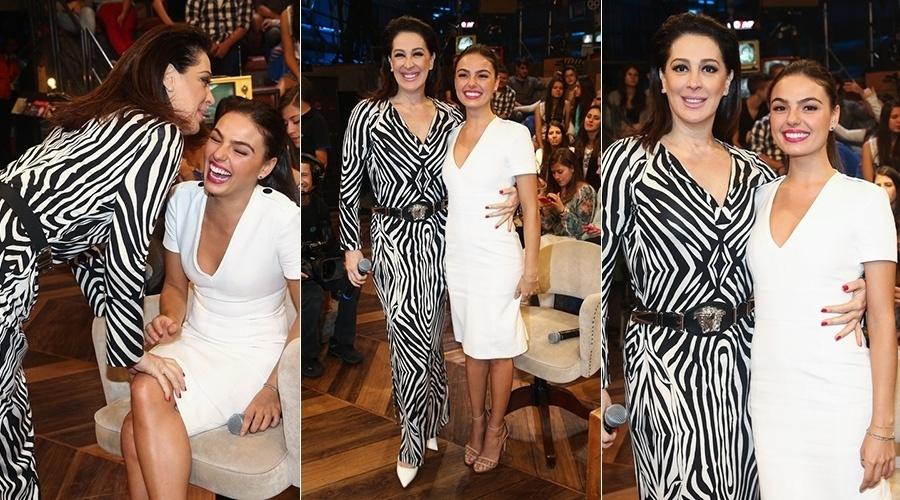 22.mai.2014 - Claudia Raia e Isis Valverde se divertiram na gravação do programa