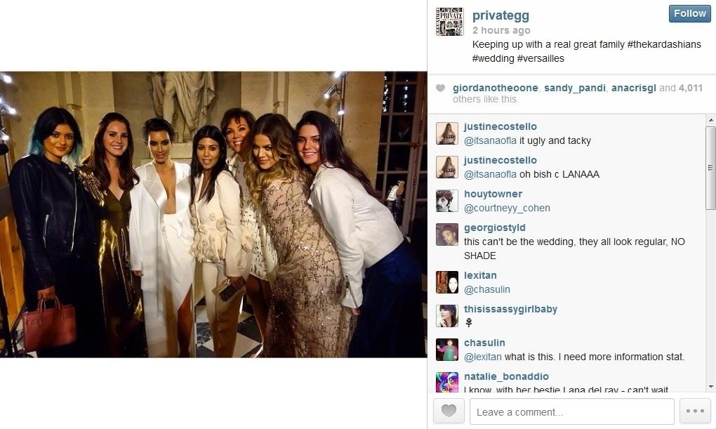 23.mai.2014 - Kim Kardashian reuniu familiares e amigos no Palácio de Versailles, na França