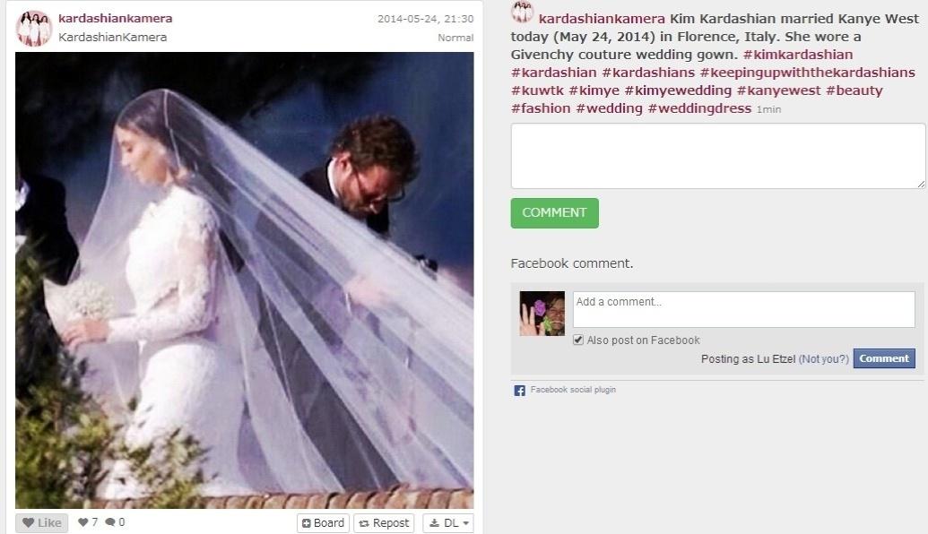 24.mai.2014 - Instagram oficial das Kardashian publica foto da noiva, que vestiu Givenchy no casamento