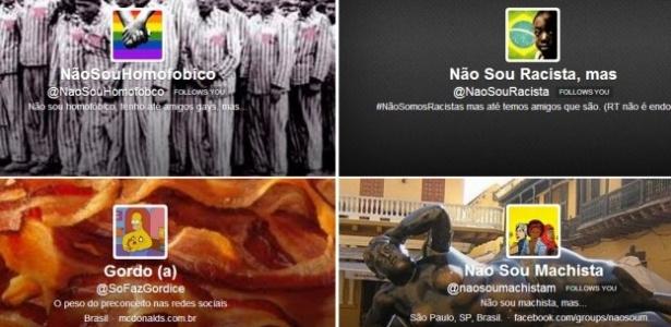 """Imagens das """"capas"""" das páginas que denunciam postagens preconceituosas nas redes sociais - Reprodução Twitter/ BBC"""