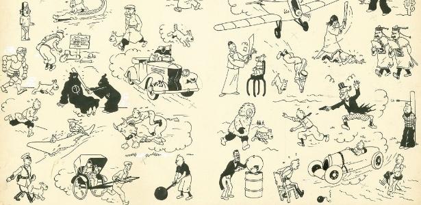 Parte do original do Tintin desenhado por Hergé em 1937 leiloado na casa francesa Artcurial - Reprodução/Artcurial