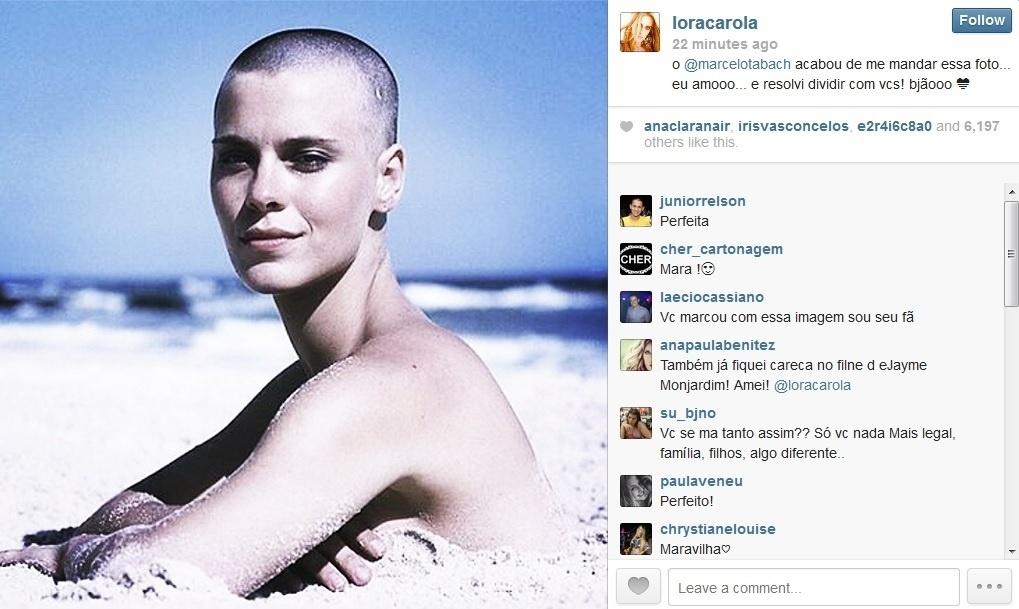 26.mai.2014 - Carolina Dieckmann compartilhou com seus seguidores do Instagram uma foto onde aparece careca