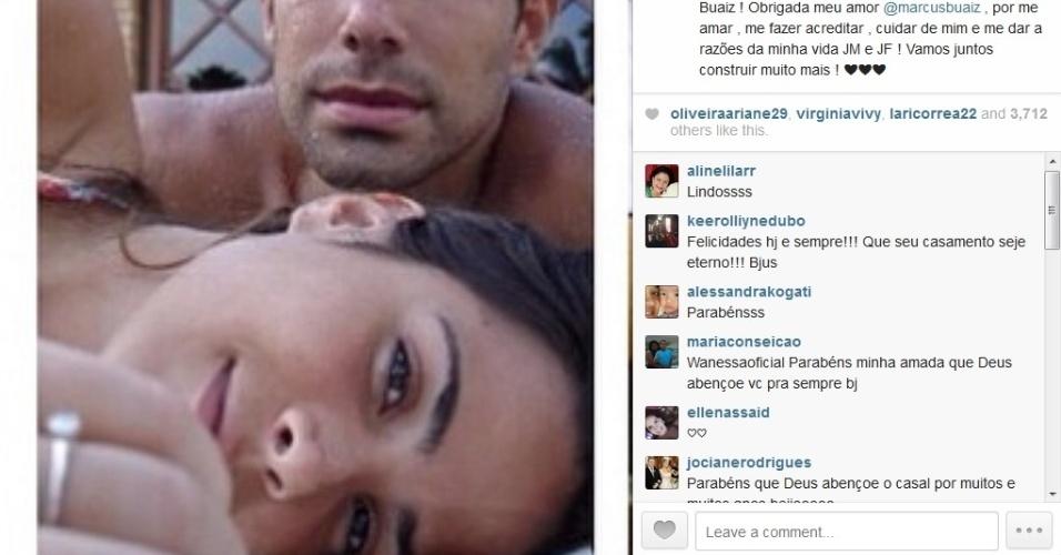 26.mai.2014 - Wanessa celebrou sete anos de casada com o empresário Marcus Buaiz com foto no Instagram