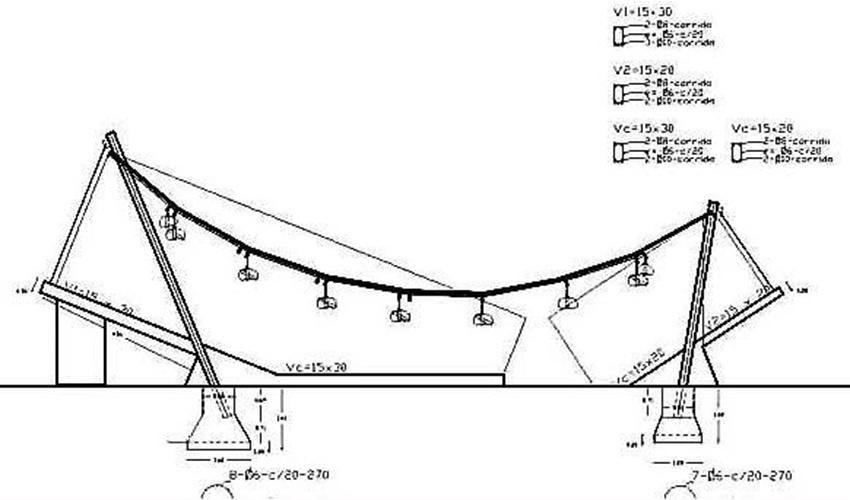 O desenho feito pelo arquiteto paraguaio Javier Córvalan nos ajuda a compreender a estrutura da casa Hamaca. No croqui, as estruturas diagonais que apoiam a cobertura e são sustentadas pelas vigas no solo