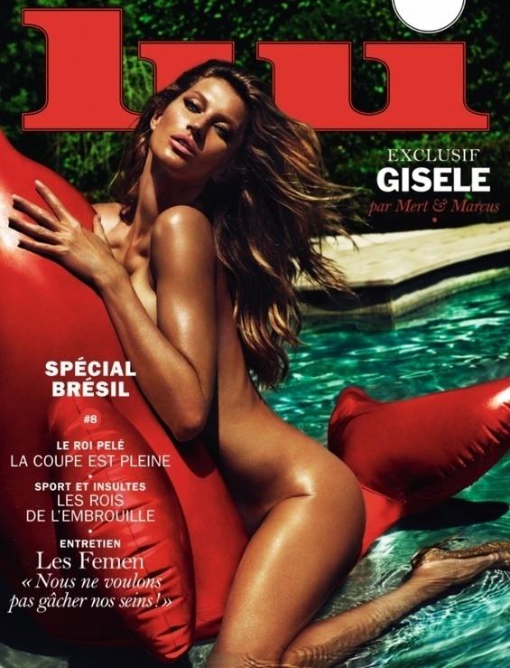 21.mai.2015 - Gisele Bündchen apareceu nua na capa da revista francesa