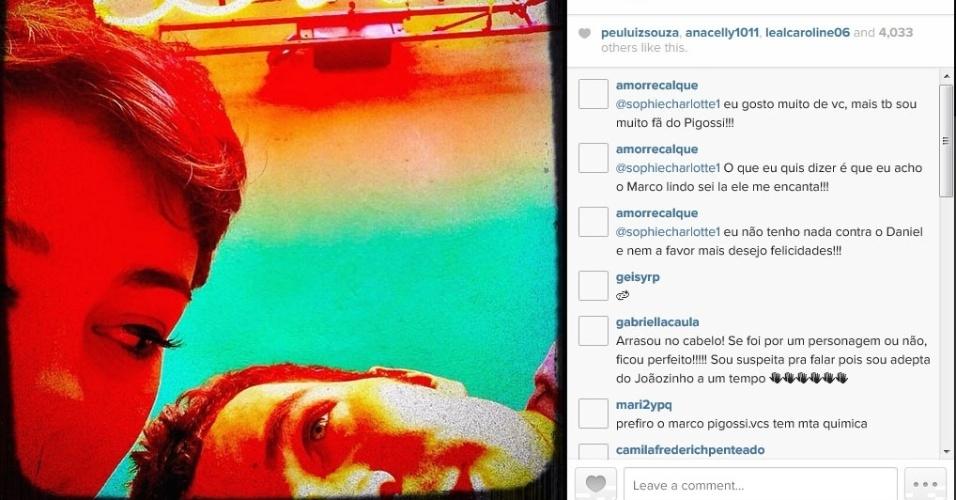26.mai.2014 - Sophie Charlotte mostrou foto ao lado de Daniel de Oliveira no Instagram