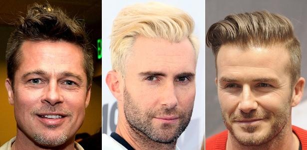 """Brad Pitt (foto à esq.), Adam Levine (centro) e David Beckham aderiram ao """"undercut"""" com topetes diferentes - Getty Images/Fotomontagem UOL"""