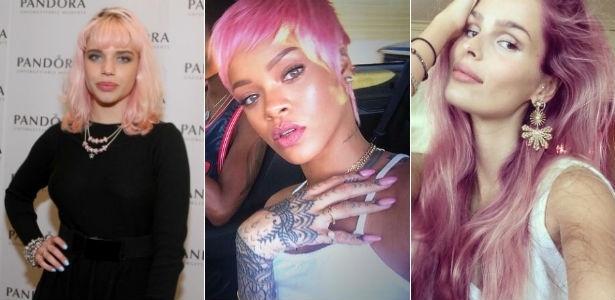 Bruna Linzmeyer, Rihanna e Yasmin Brunet inovaram ao tingir o cabelo de rosa - AgNews/ Reprodução