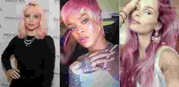 Bruna Linzmeyer e Rihanna inovaram ao tingir os cabelos de rosa. Já Yasmin também quer apostar na cor - AgNews/ Reprodução
