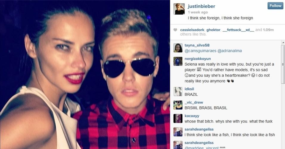 Adriana Lima e Justin Bieber em festa realizada em Cannes
