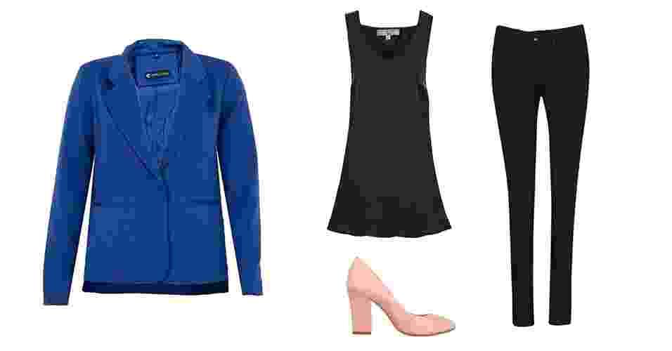 Para um visual moderno, sem fugir do básico, combine o blazer colorido com calça skinny e sapato de salto. A produção é indicada para o trabalho ou um evento à noite - Divulgação