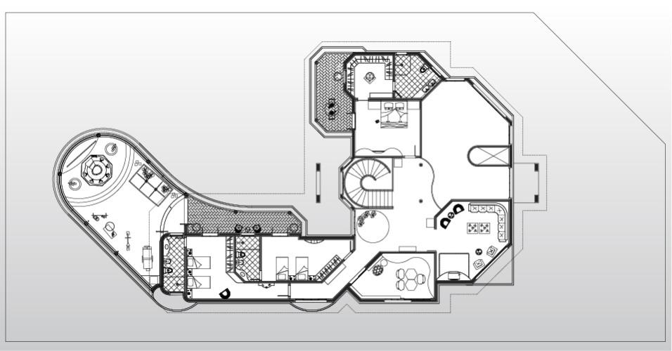 Os ambientes da casa em Americana (SP) se distribuem em dois pavimentos. No superior estão as suítes. No térreo, integrados à área de lazer, estão os espaços sociais. O projeto de arquitetura da casa, que pertence ao jogador da seleção brasileira Oscar, é de Aquiles Kílaris