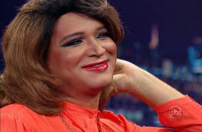 "2.jun.2014 - Pastor drag queen Marcos Lord participa do ""The Noite"""