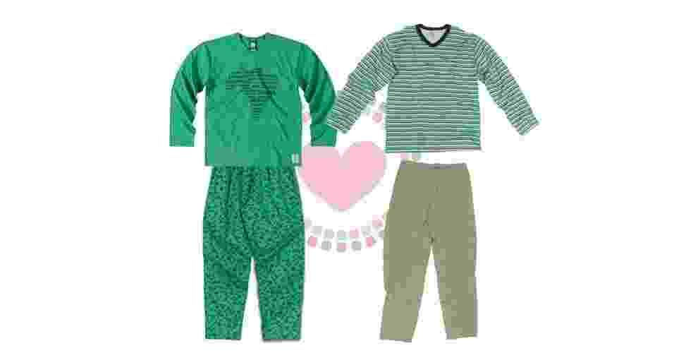 Pijama feminino de algodão em comemoração ao Campeonato de Futebol Mundial, na Malwee Libertá. Preço sugerido: R$ 89,99. SAC: 0800 7367200 - Pijama masculino de algodão com camiseta listrada em tons de verde, no Lojão do Brás. Preço sugerido: R$ 69,50. SAC: (11) 2636-5133 - Divulgação