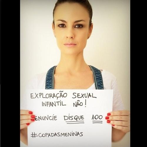4.jun.2014 - A atriz Carolina Kasting faz campanha contra a exploração sexual infantil