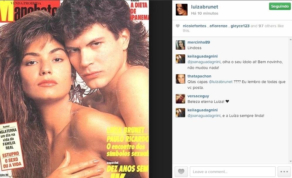 4.jun.2014 - Luiza Brunet tirou uma foto do fundo do baú com o cantor Paulo Ricardo. Bem mais nova, a ex-modelo aparece cobrindo os seios com a mão na capa da revista