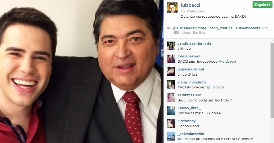 4.jun.2014 - O apresentador José Luiz Datena recebeu o jornalista Luiz Bacci na Band.