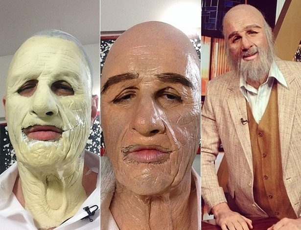 """4.jun;2014 - Rafinha Bastos mostrou o passo a passo de sua transformação para aparentar ser mais velho.""""Eu e o Mansfield fazendo o #agoraetarde daqui a 48 anos"""", disse o humorista da Band ao lado do esqueleto, com o resultado final da maquiagem"""
