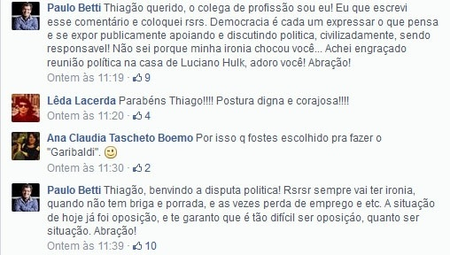 Paulo Betti e Thiago Lacerda debateram via Facebook