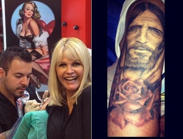 """5.jun.2014 - Monique Evans cobriu o braço com uma tatuagem do rosto de Jesus Cristo. Ela revelou o desenho em seu Instagram. """"Ok vcs vencerammmmmmm Todo mundo curioso com a tattoo Mas ainda falta uma parte e o q rápido vermelho é a pele! @joaquimtatto fez tudo preto com sombras.... Lindo demaissss"""", escreveu"""