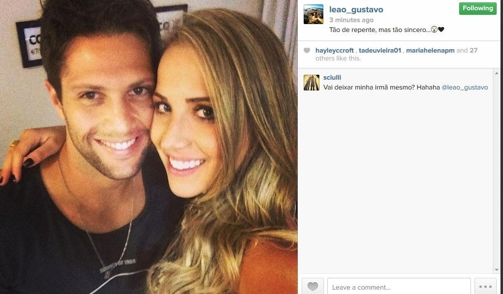 6.jun.2014 - Gustavo Leão se declara para a namorada:
