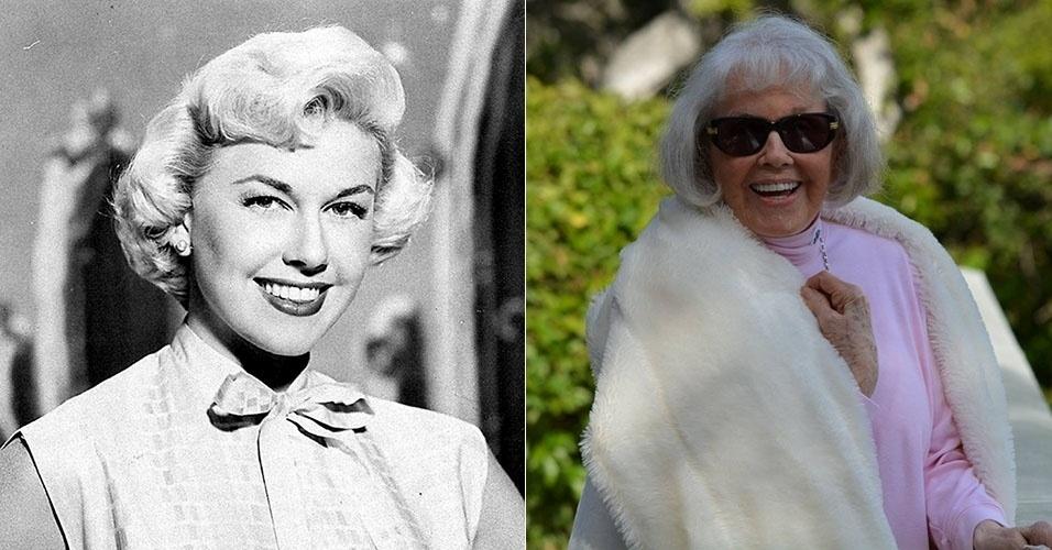 """À esquerda, a atriz Doris Day em cena do filme """"Não Me Mandem Flores"""", de 1964. Ela ficou reclusa por duas décadas, mas reapareceu em abril de 2014, aos 90 anos, promover uma campanha de arrecadação de donativos para sua instituição protetora de animais"""