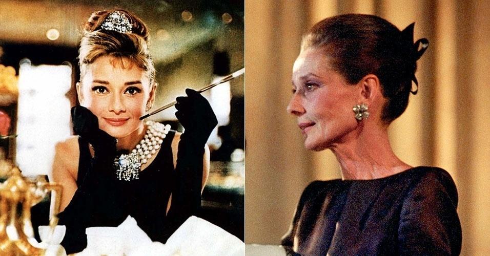 """Audrey Hepburn ficou marcada como a jovem Holly Golightly de """"Bonequinha de Luxo"""", de 1961. Uma de suas últimas fotos é de 1991, quando ela tinha 61 anos. Ela morreu em 1993"""