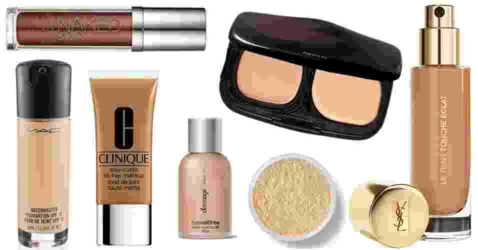 Bases disponíveis em diferentes texturas ajudam a preparar a pele e conquistar a cobertura perfeita. Veja uma seleção de marcas e cores para escolher a sua - Divulgação