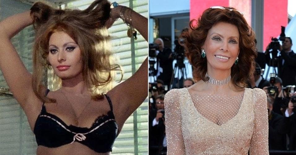 """Considerada uma das mulheres mais sensuais do cinema, Sophia Loren exibiu seus atributos no filme """"Ontem, Hoje e Amanhã"""", de 1963. Em sua aparição no Festival de Cannes de 2014, ela mostrou que continua em boa forma aos 79 anos"""