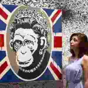 Exposição não-autorizada em Londres reúne 70 obras de Banksy - Justin Tallis/AFP