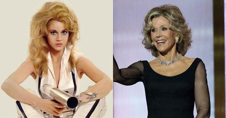 Jane Fonda conquistou vários marmanjos como a heroína futurista sexy Barbarella, do filme homônimo de 1968. Em junho de 2014, aos 76 anos, ela foi homenageada em um evento de gala em Los Angeles