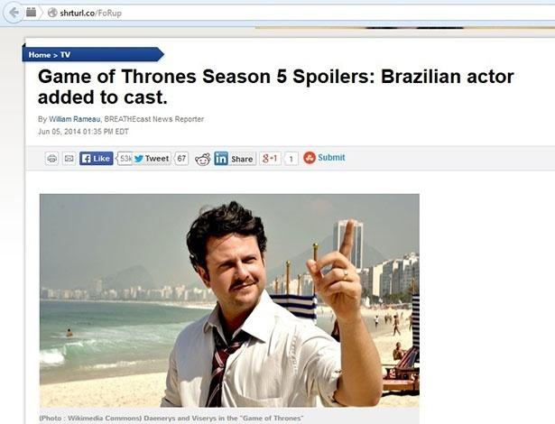"""Site falso """"escalou"""" Selton Mello para """"Game of Thrones"""""""