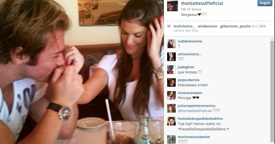 8.jun.2014 - Thor Batista, filho do empresário Eike Batista com Luma de Oliveira, assume namoro com a modelo Lunara Campos