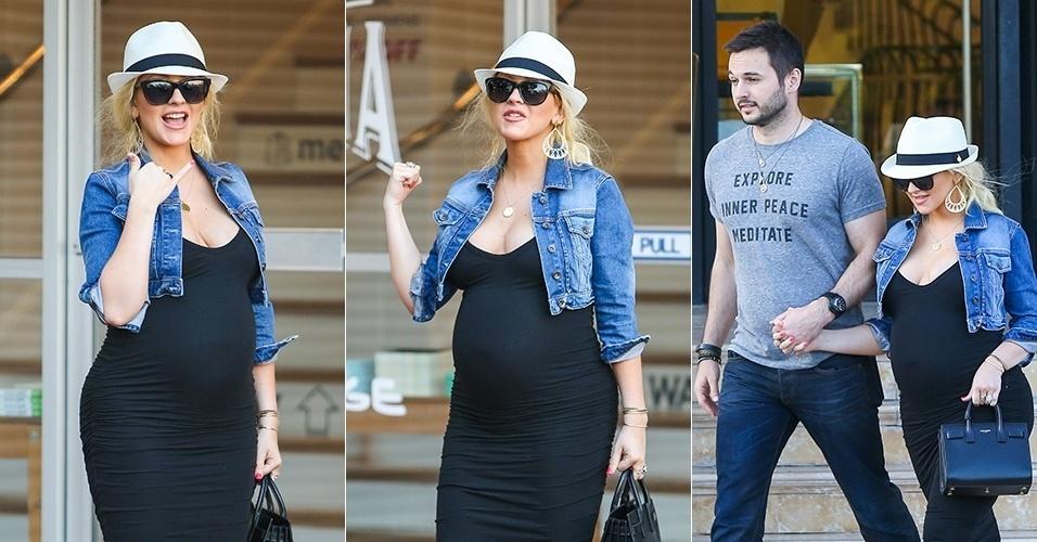 7.jun.2014 - Christina Aguilera exibe barrigão de grávida em vestido justo durante passeio em Los Angeles com o noivo, Matt Rutler