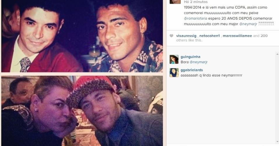 10.jun.2014 - David Brazil mostrou uma montagem na qual aparece ao lado de Romário, há 20 anos, e com Neymar, hoje em dia. Na legenda, o promoter disse que espera comemorar o hexa com o namorado de Bruna Marquezine assim como festejou o tetra com seu ídolo.