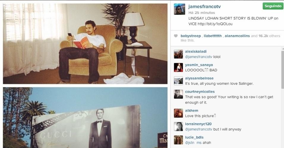 """10.jun.2014 - James Franco escreveu um conto para a revista norte-americana """"Vice"""" sobre sua noite com uma personagem chamada Lindsay Lohan"""