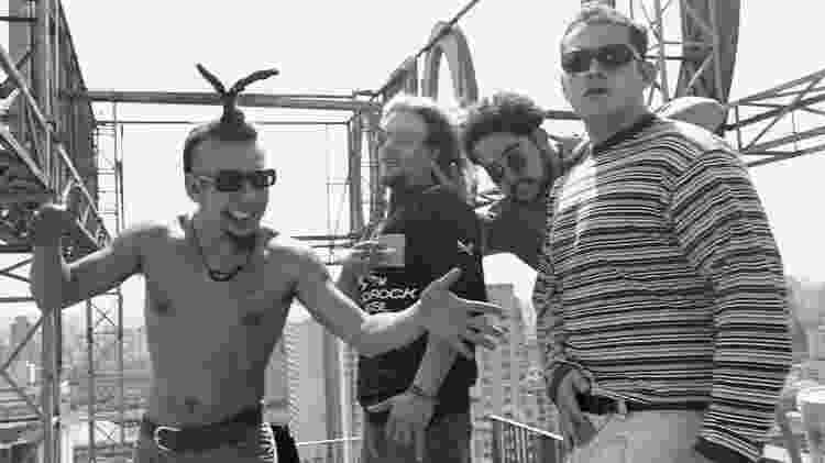 28.out.1994 - Os integrantes da banda Raimundos: Rodolfo, Canisso, Fred e Digão - Adauto Perin/Folhapress - Adauto Perin/Folhapress