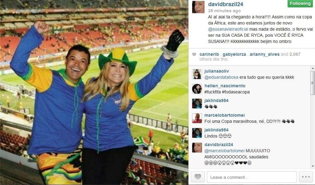 11.jun.2014 - David Brazil posta foto ao lado da atriz Susana Vieira.
