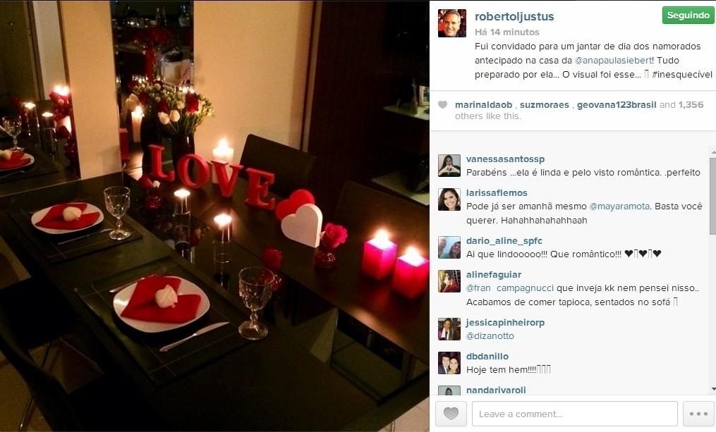 11.jun.2014 - Roberto Justus comemorou antecipadamente o seu primeiro Dia dos Namorados com a modelo Ana Paula Siebert. O empresário ganhou um jantar à luz de velas, organizado especialmente por Ana Paula.