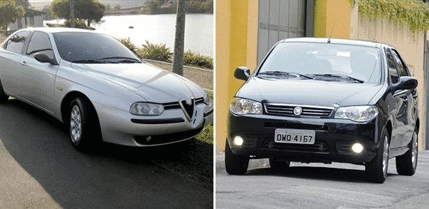 """Alfa Romeo 1999 de Oreste Laércio Junior, """"completinho"""", está à venda por R$ 24.990; Fiat Palio Fire 2015 """"peladinho"""", o zero quilômetro mais barato do país, sai por R$ 24.730. Qual vale mais a pena? - Arte UOL Carros"""