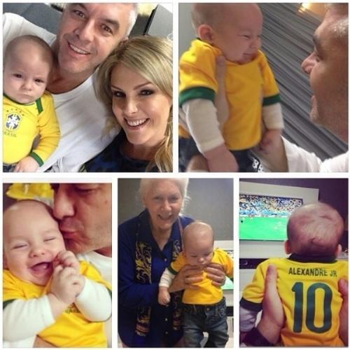 """12.jun.2014 - Ana Hickmann festeja a primeira Copa do Mundo com seu filho, Alexandre. """"Minha primeira Copa do Mundo!!! Tudo em família , mamãe, papai, vovó e vovô"""", diz a apresentadora, ao mostrar foto do herdeiro sendo paparicado pelos familiares e usando a camisa da Seleção"""