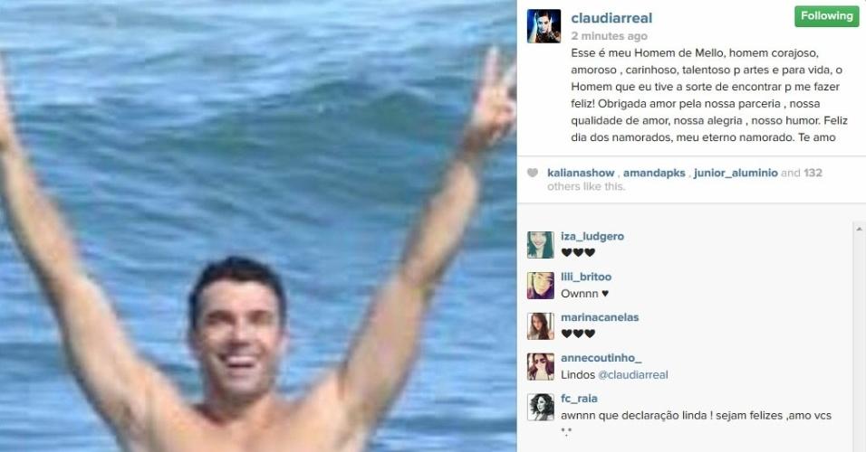 12.jun.2014 - Claudia Raia se declara para o namorado, Jarbas Homem de Mello