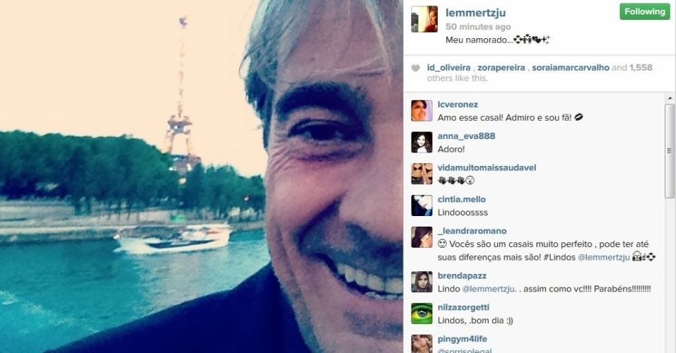 12.jun.2014 - Júlia Lemmertz homenageia Alexandre Borges no Dia dos Namorados