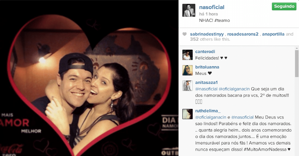 12.jun.2014 - O ex-BBB Nasser homenageou a namorada Andressa, a qual conheceu dentro do Big Brother Brasil 13