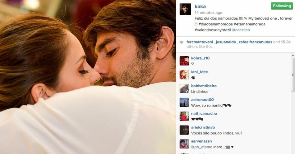 12.jun.2014 - Em crise no casamento com Carol Celico, Kaká faz declaração de amor para a mulher no Instagram
