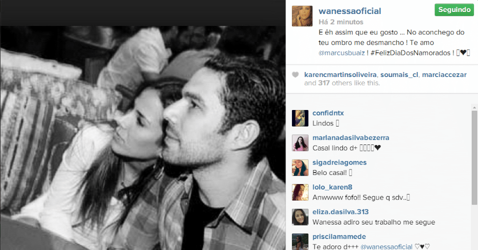 "12.jun.2014 - Wanessa declara seu amor pelo marido, Marcus Buaiz, no Instagram. ""E é assim que eu gosto... No aconchego do teu ombro me desmancho! Te amo"", escreveu ela"