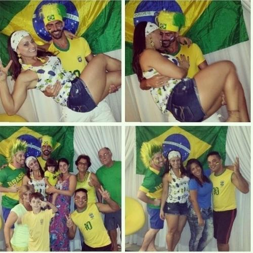 """Viviane Araújo assistiu à estreia do Brasil na Copa com amigos, familiares e o namorado Radamés. """"Esse é o clima!"""", disse a atriz no Instagram"""